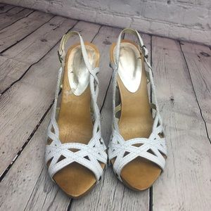 Marcello Paci White Strappy Wooden Heels